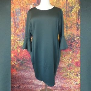 NWT Lane Bryant Green Dress Bell Sleeves Size 26